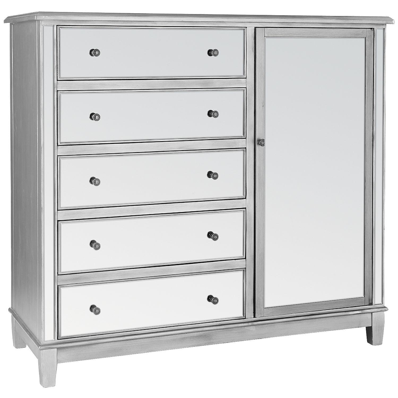 Hayworth Mirrored Silver Chifforobe Mirrored Furniture Mirrored