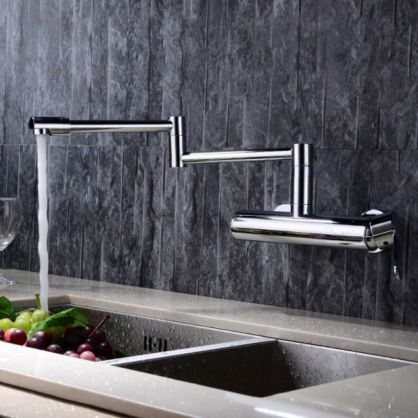 Wall Mounted Swing Arm Kitchen Sink Faucet Single Handle in Chrome ...