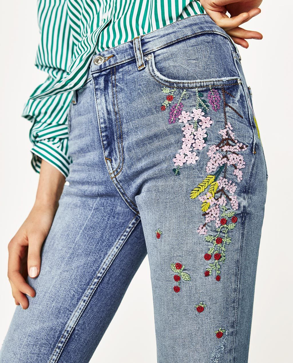 33e2f5c8 HIGH WAIST FLORAL JEANS-View All-JEANS-WOMAN | ZARA Egypt | jeans in ...