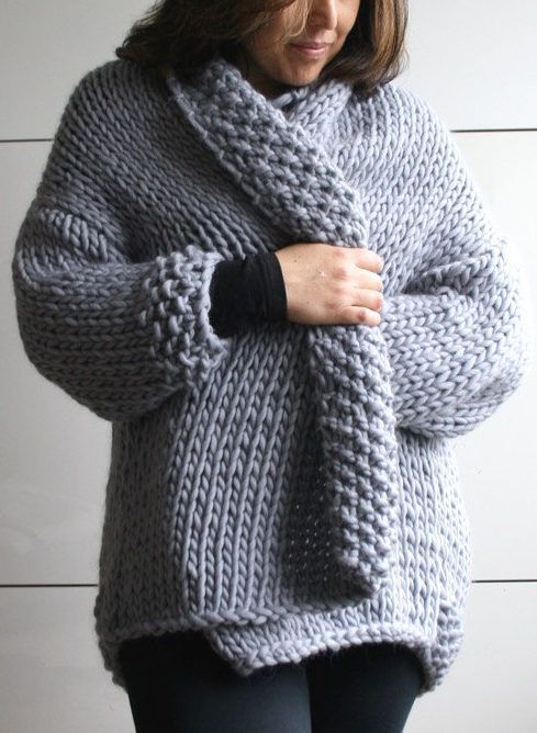 Knitting Pattern For Easy Sweater Coat Knit In Stockinette With