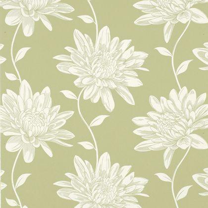 Laura ashley josephine moss wallpaper at homebase for Wallpaper homebase green