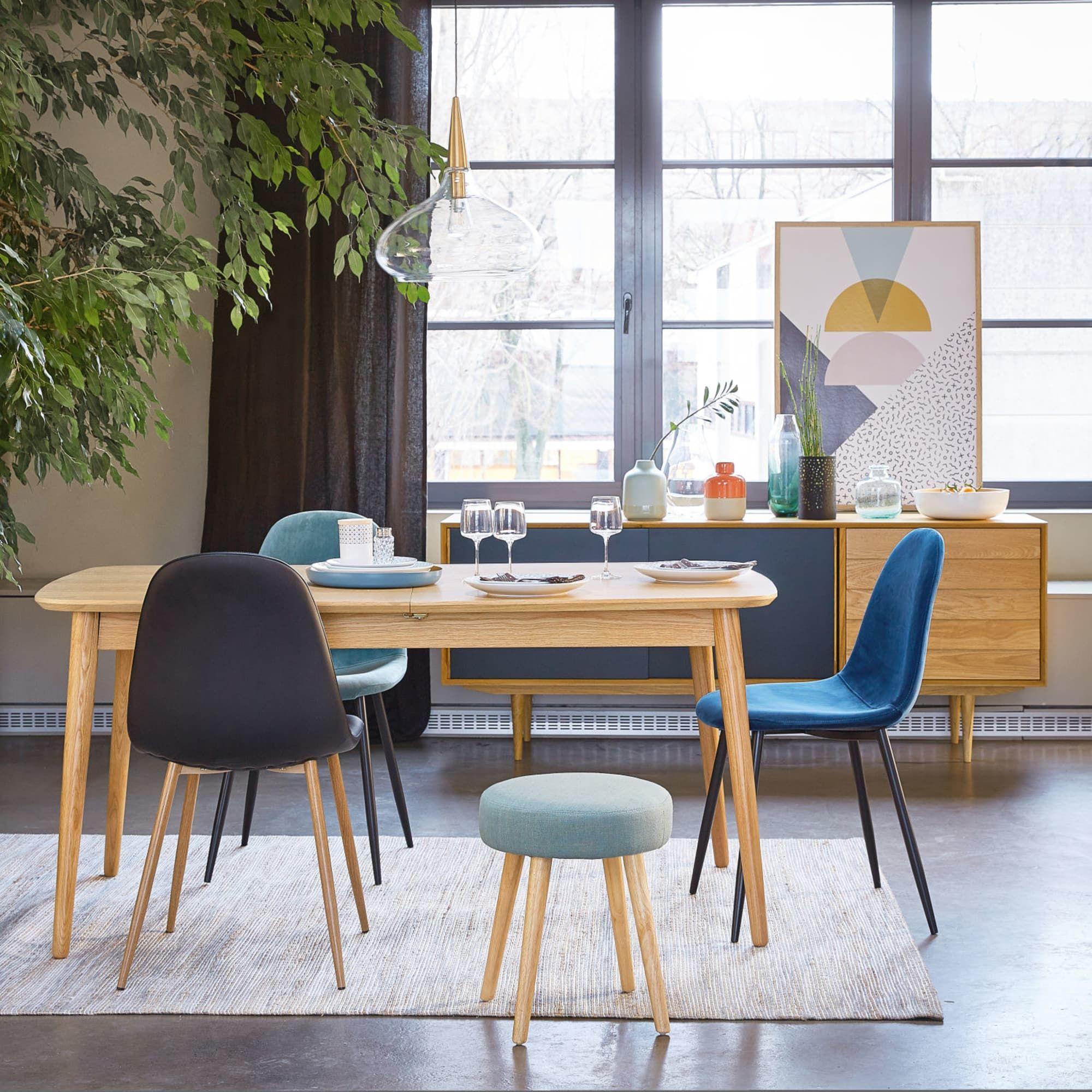 Chaise Style Scandinave En Velours Bleu Clyde Table A Manger 10 Places Table A Manger Extensible Table Maison Du Monde