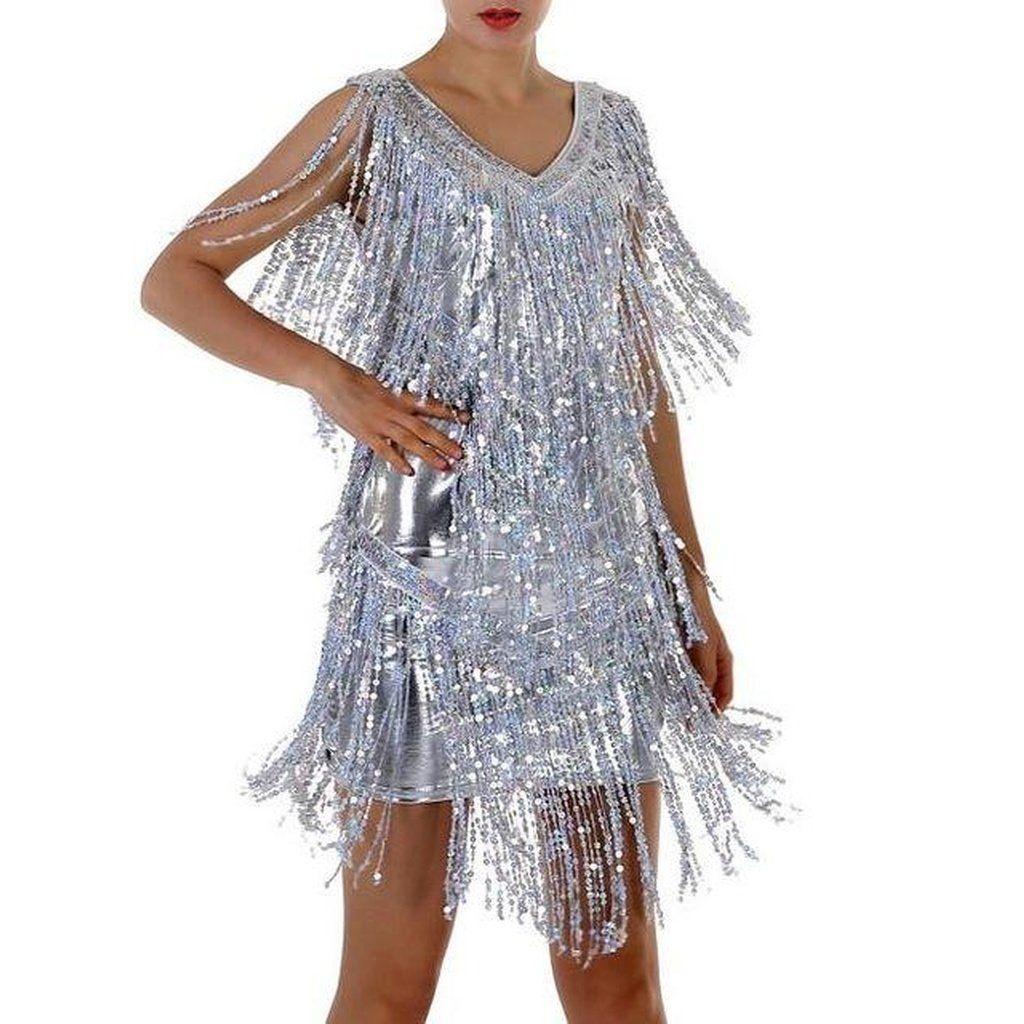 Sequin Fringe Gold Silver Dress | DIY | Pinterest | Products