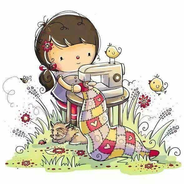 Девочка шьет картинки