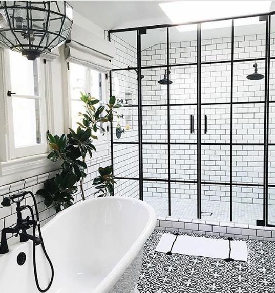 black and white tile floor. Classic Master Bathroom Black And White Tiles Pattern Floor Tile (
