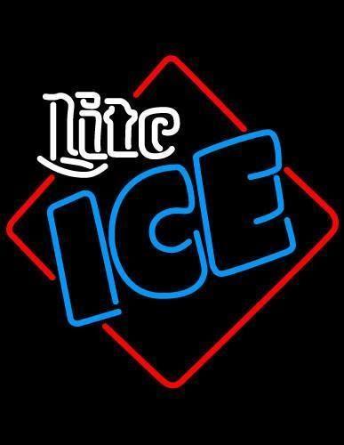 Miller Lite Ice Square Neon Beer Sign | Neon beer signs