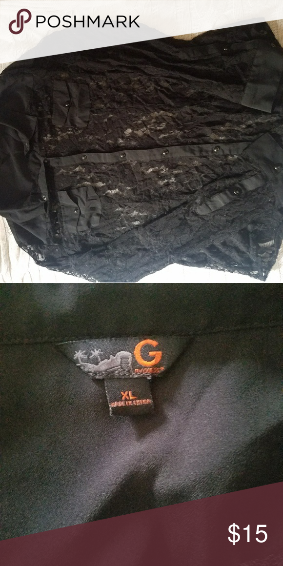 Black laced button up No rips. Bundle for more discounts G by Guess Tops Button Down Shirts
