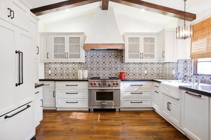 Erin Hendrick Kitchens Spanish Colonial Kitchen Style Hardwood Floors Backsplash Tile Red White And