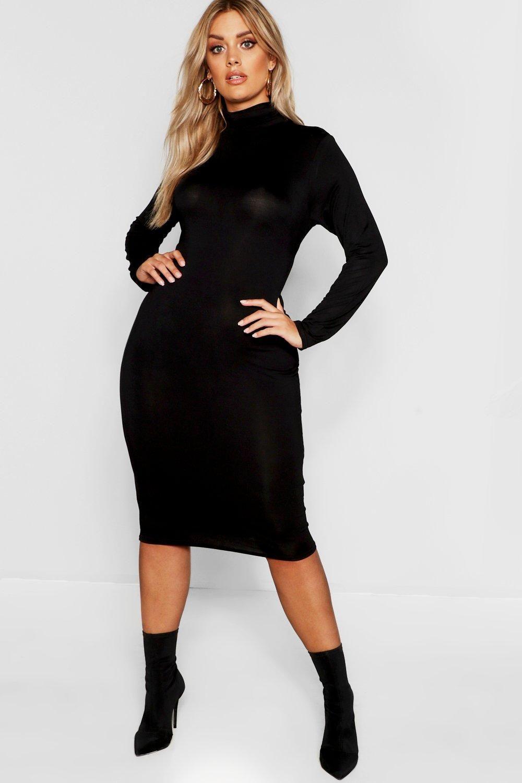 Plus Long Sleeve Turtleneck Midi Dress Boohoo Turtleneck Midi Dress Dresses Midi Maxi Dress [ 1500 x 1000 Pixel ]