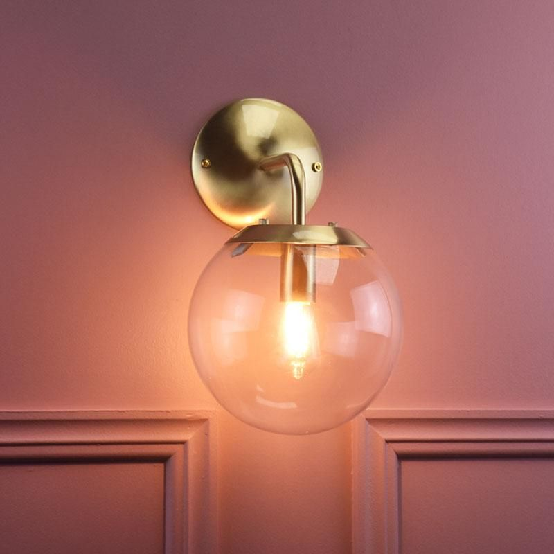 Contemporary Spherical Clear Glass Wall Light Matte Black Or Brushed Brass Clear Glass Wall Light Wall Lights Glass Wall Lights