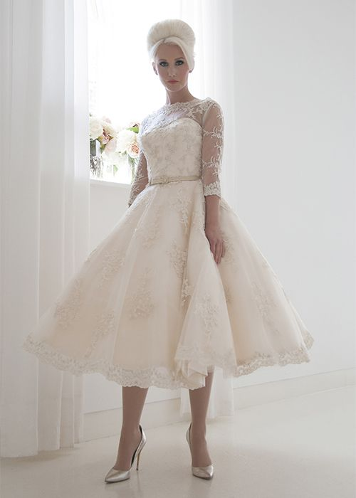 Frances Full beaded champagne vintage tea length wedding dress with ...