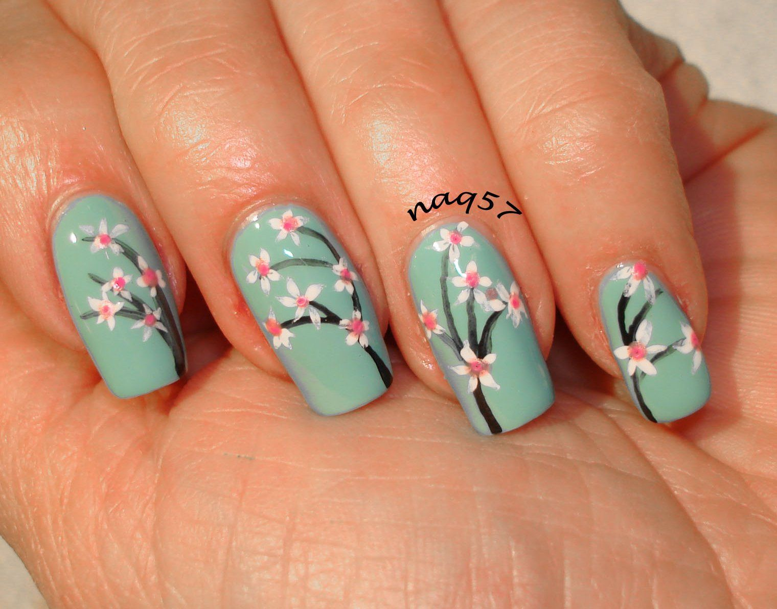 cherry blossoms freehand nail art design | nail art | Pinterest ...