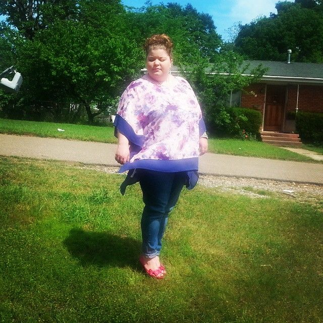 Cute plus size outfit. Plus size fashion. Ava and Viv top. Skinny jeans. Hot pink heels. Fatshion. Streetstyle.