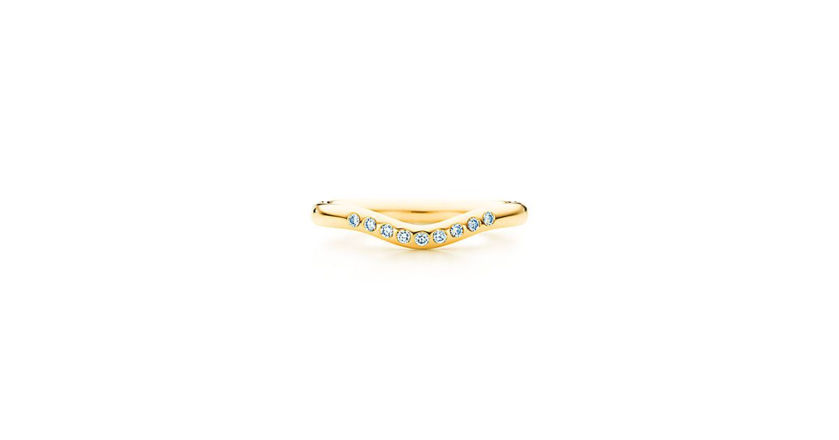 Elsa Peretti® wedding band ring with diamonds in 18k gold, 2 mm wide.