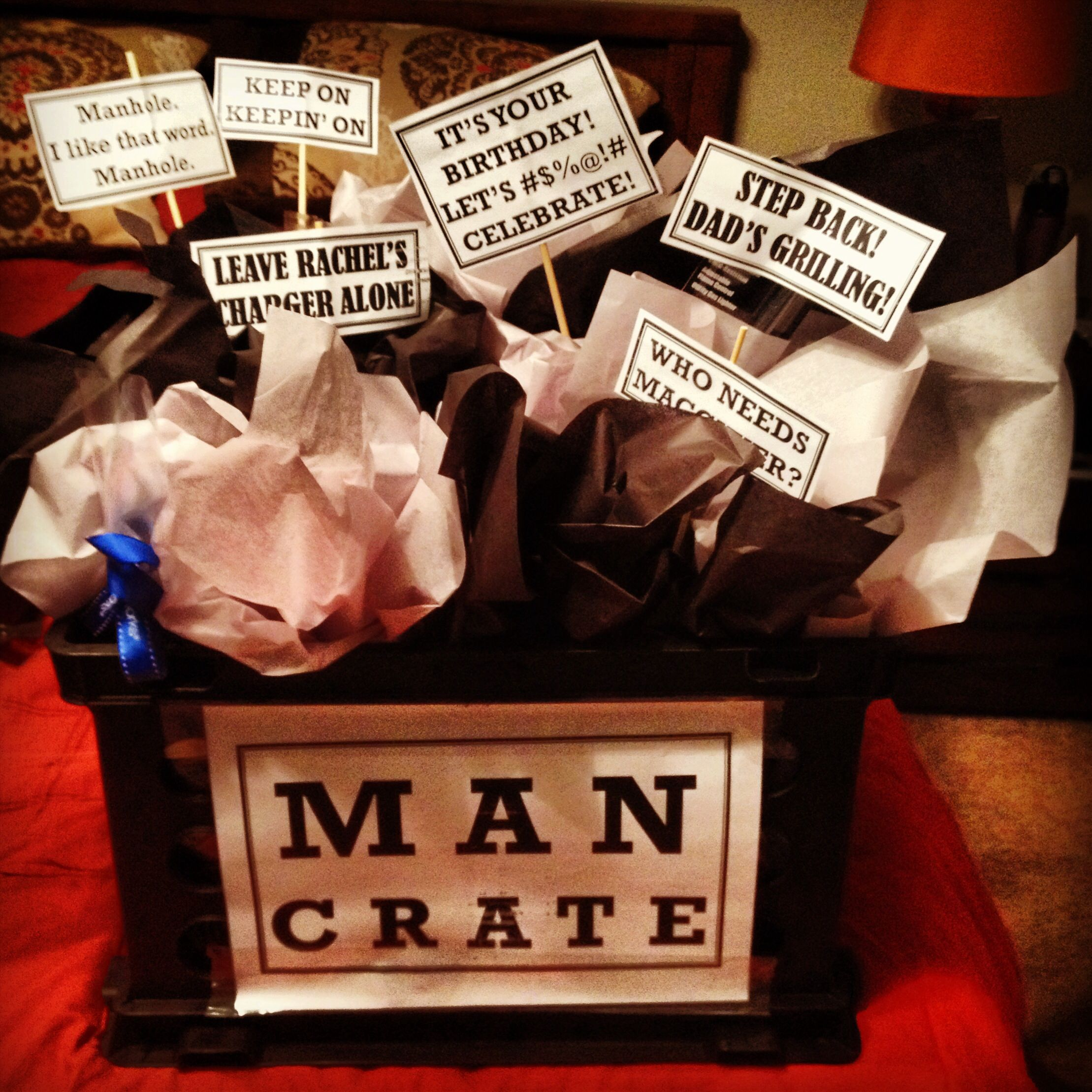 "Birthday t for my husband Gift basket for guys Aka ""Man"
