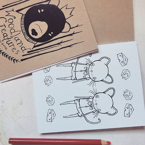Woodland Creatures A Mini Animal Coloring Book By Whyhouses