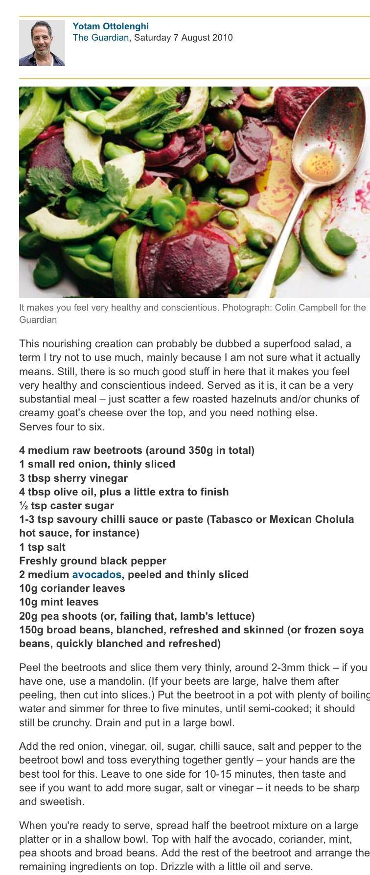 Bean and beet root salad
