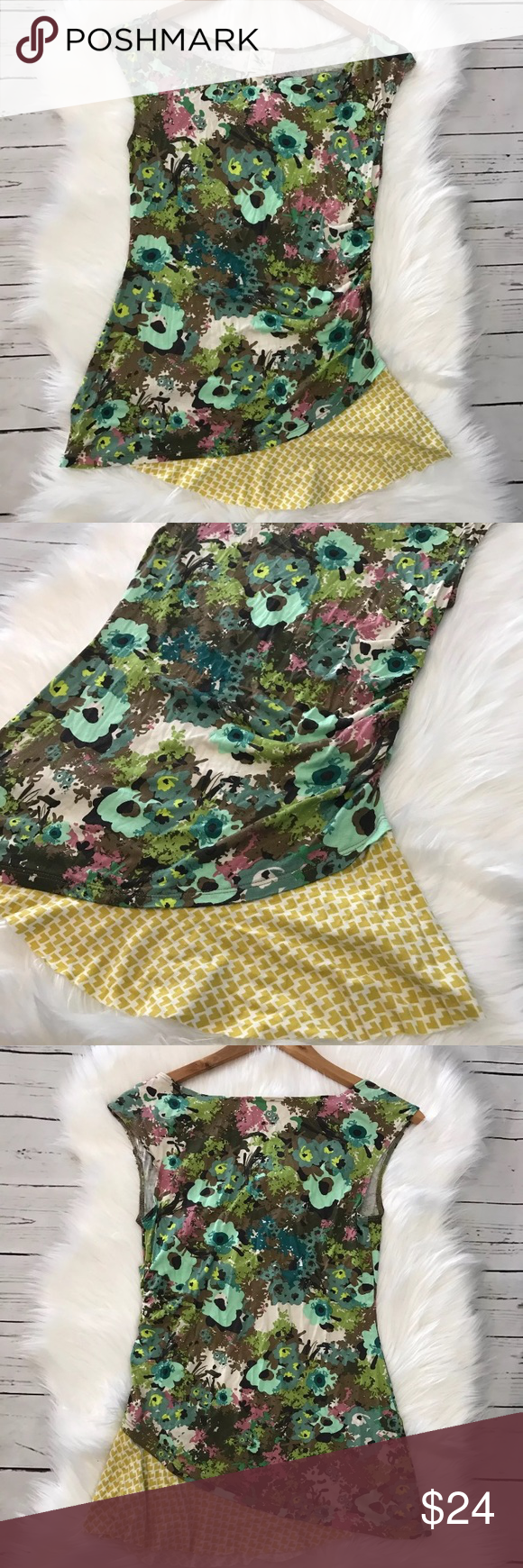 """Weston Wear Boho Floral Ruffle Top Gorgeous asymmetrical blouse. One sided ruched detailing. Asymmetrical Floral/Geometric print. Bust measures 15""""across and length measures 26"""". Measured laying flat. Anthropologie Tops Blouses"""