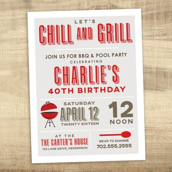 Pool Party BBQ Invitation 40th 30th Birthday Grill And Chill S