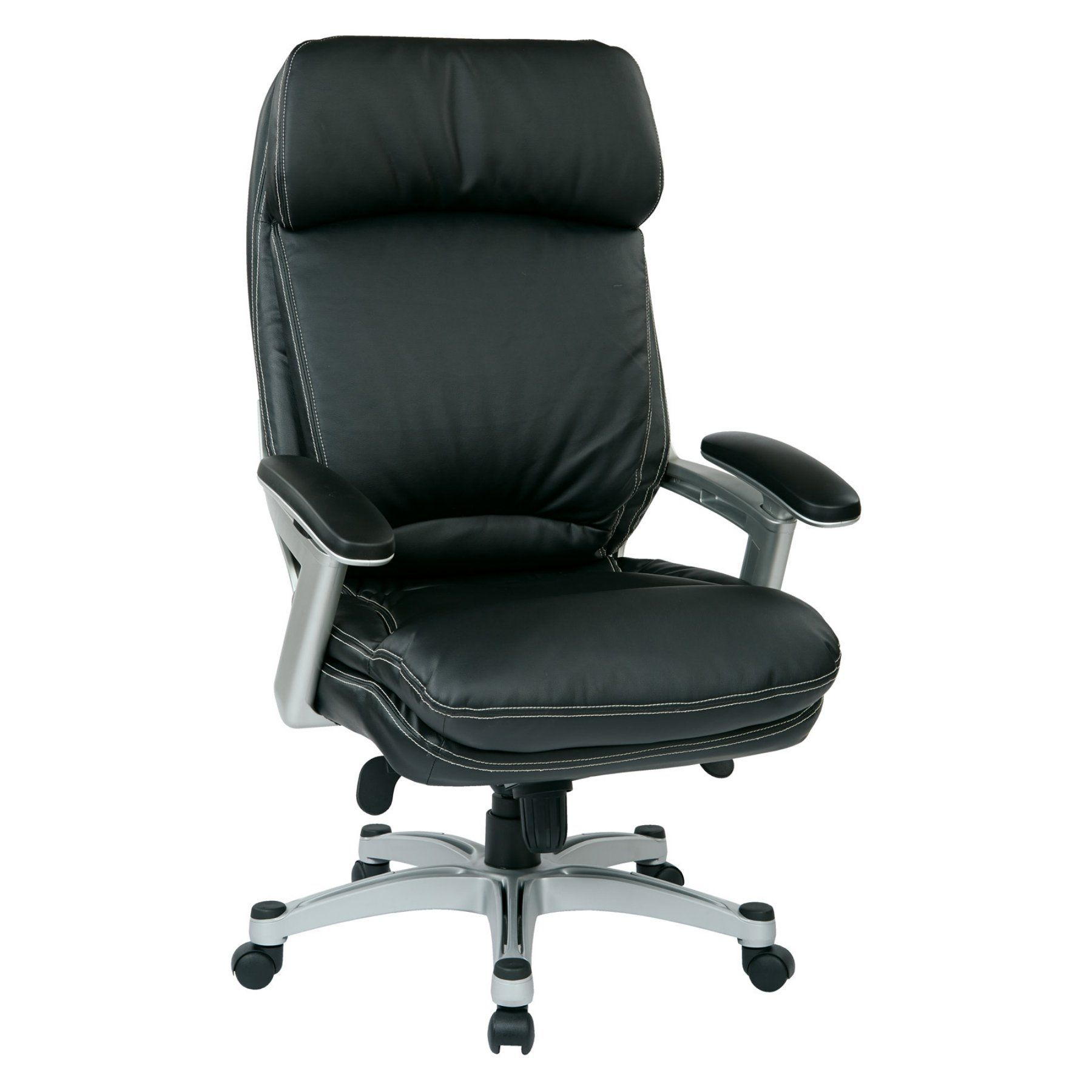 Work Smart Black And Silver Bonded Leather Executive Office Chair Oph62606 Ec3