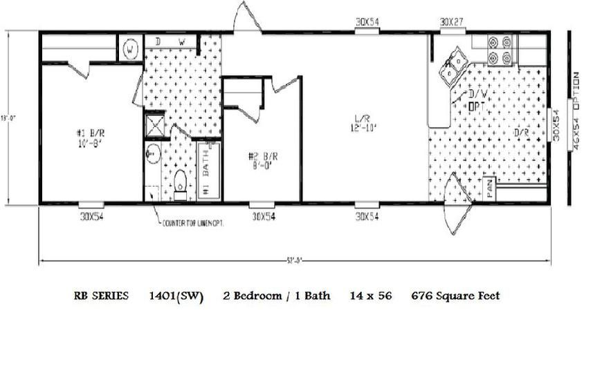 16 x 80 single wide mobile home floor plans in addition 14 x 70 mobile - 14x70 Mobile Home Floor Plan