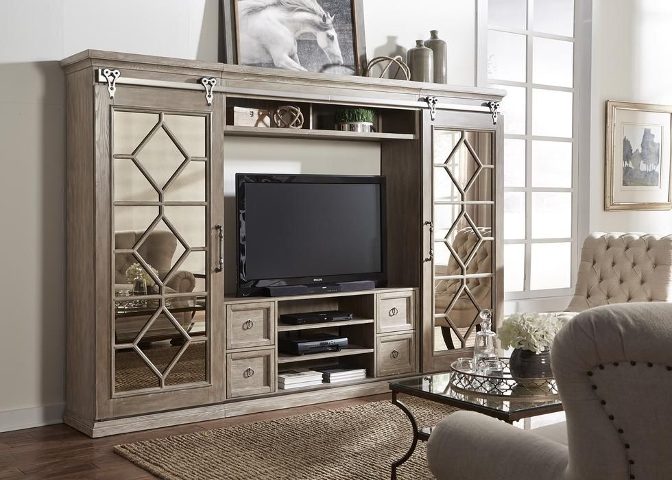 Mirrored Reflections Entertainment Center With Piers Wood