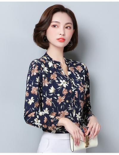87e976fbacce45 2019 Fashion Blouse Women Shirt Long Sleeve Chiffon Floral Print Office  Shirt Ladies Top Female Clothing Blusas Plus Size 3XL H2