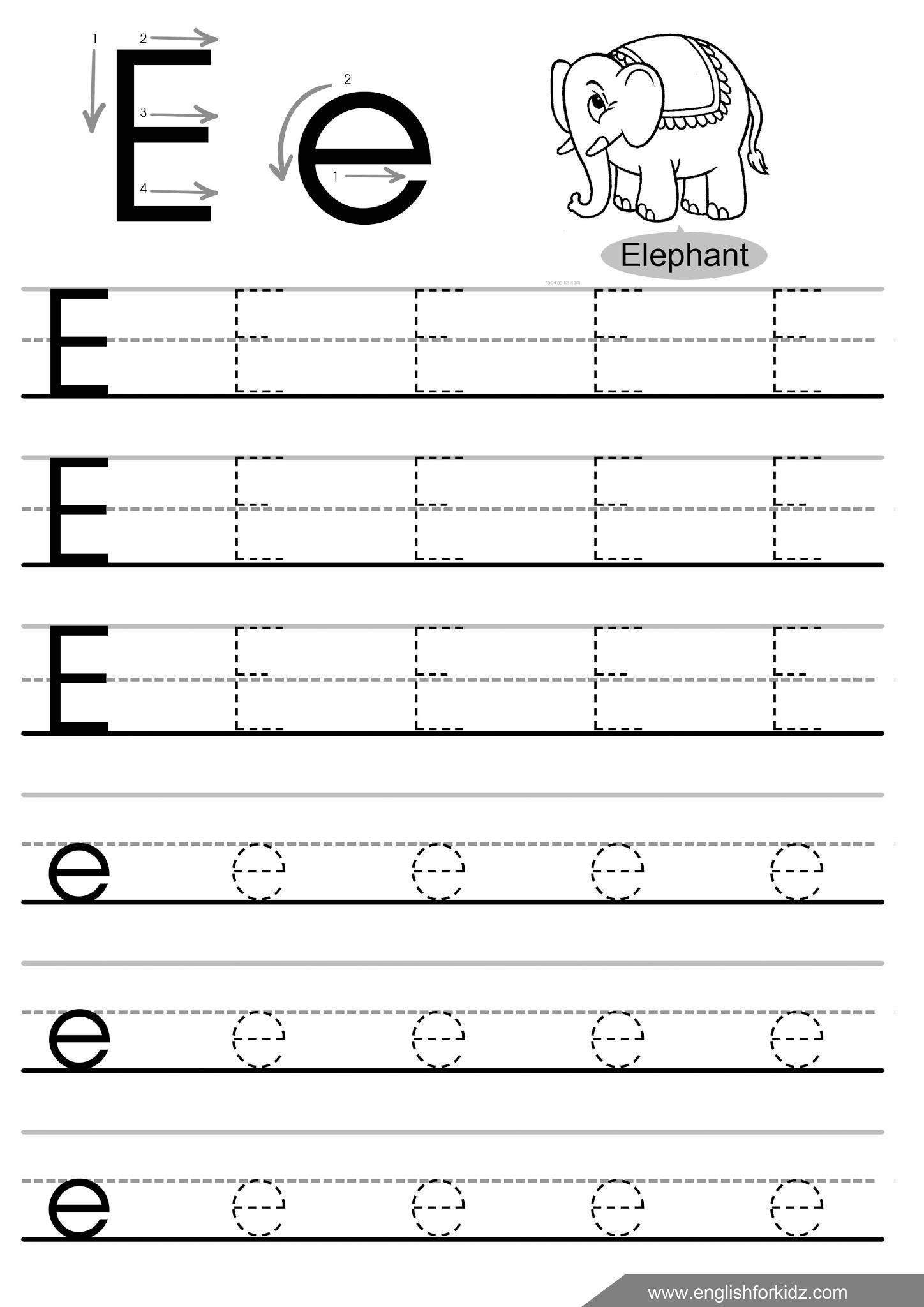 Letter E Tracing Worksheets For Preschool En