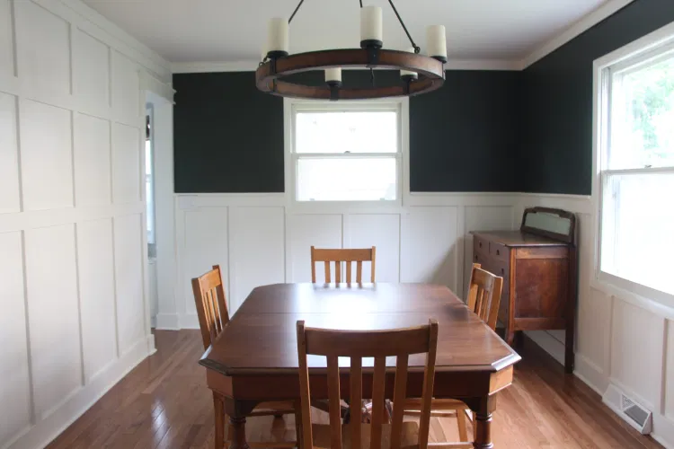 Dining Room Board and Batten (aka How I Made Dark Green Paint Work in Our Dining Room)