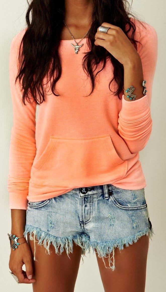 Fabulous denim short and cute top fashion