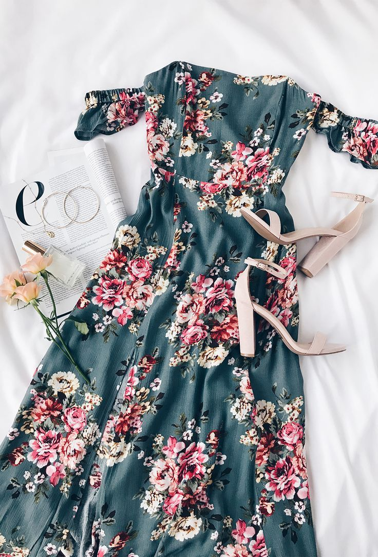 Photo of Primrose Path Sage Green Floral Print Maxi Dress