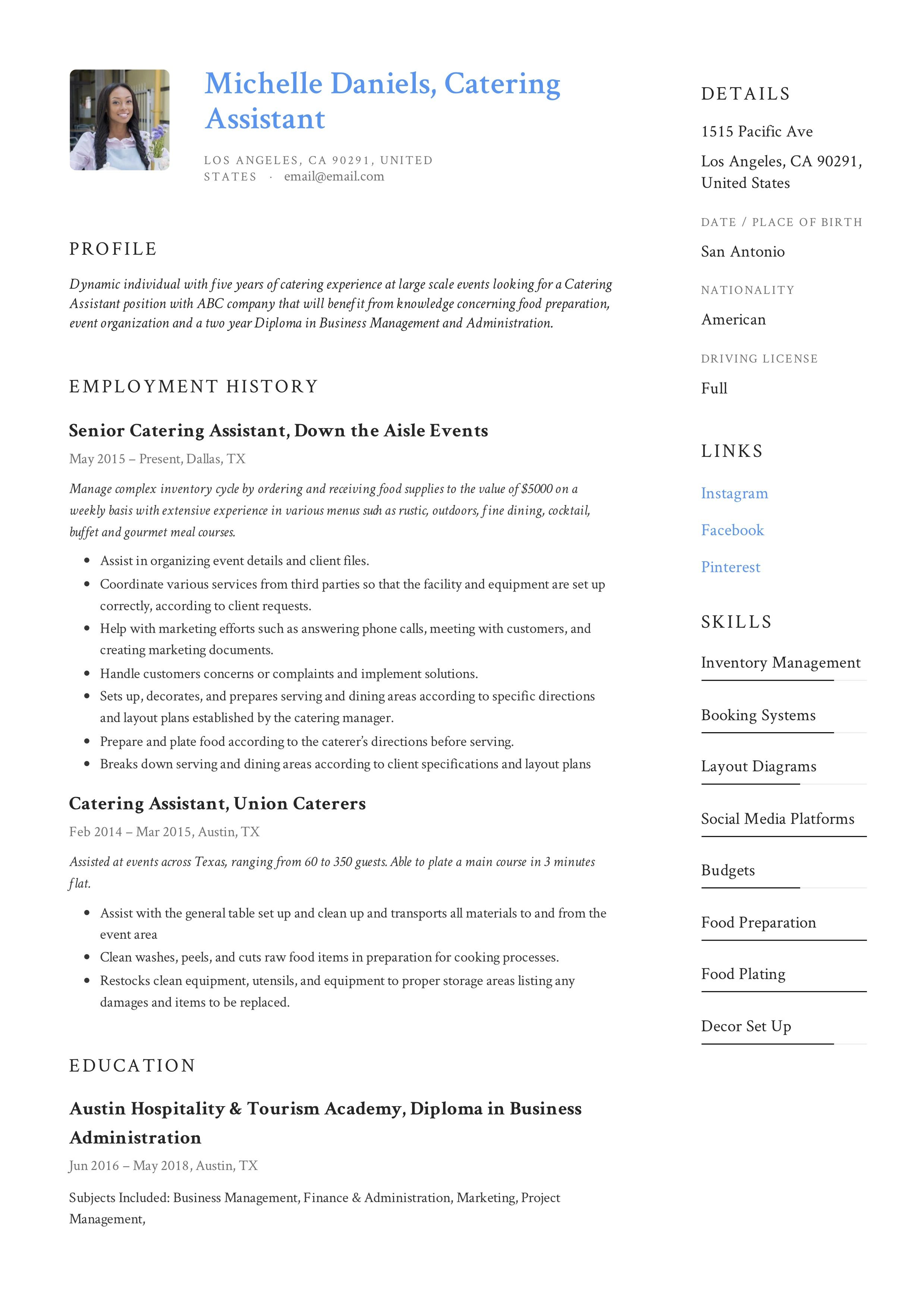 Catering Assistant Resume Example Resume Examples Catering Resume