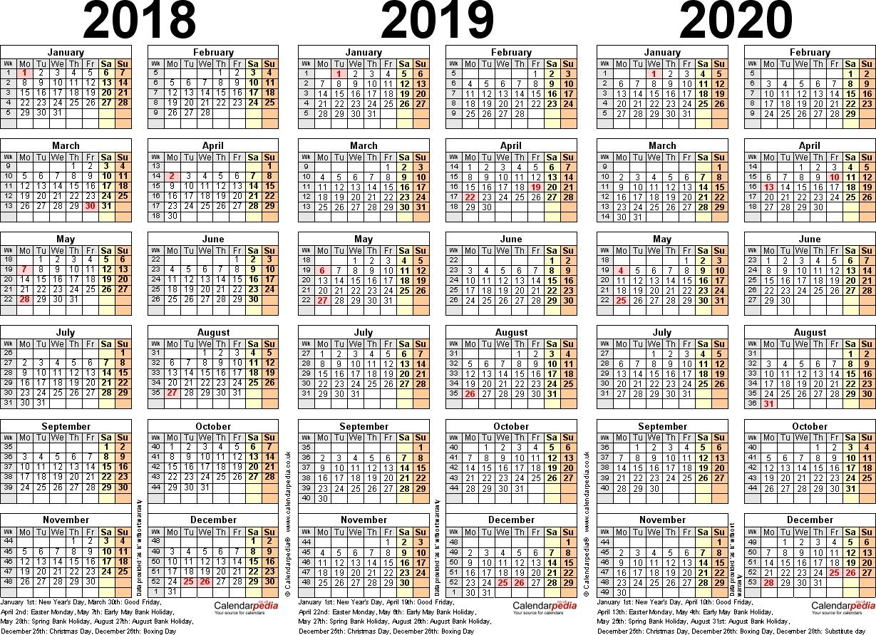 Three Year Calendars For 2018 2019 2020 Uk For Word 2016 2017 2018 Calendar 3 Year Printable Printable C Excel Calendar Calendar Printables Calendar Template