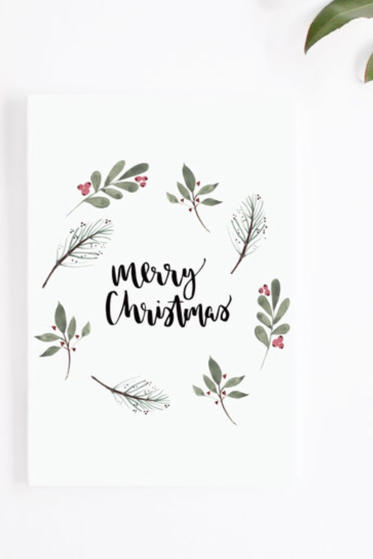 Christmas Cards Hand Lettered Modern A6 Cards Merry Christmas, Let it Snow, Happy New Year Watercolour Designs Rustic Kraft Cards Set