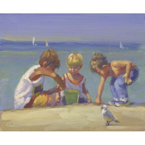 Sale Crab Catchers 3 Boys Sons Ocean Playing Beach Art Painting