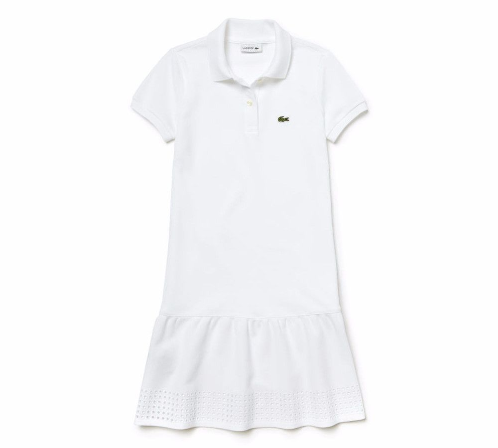 7d993aaa0ba299 LT60Q-16-EJ2796 Pique Polo Dress with Eyelet Gathers