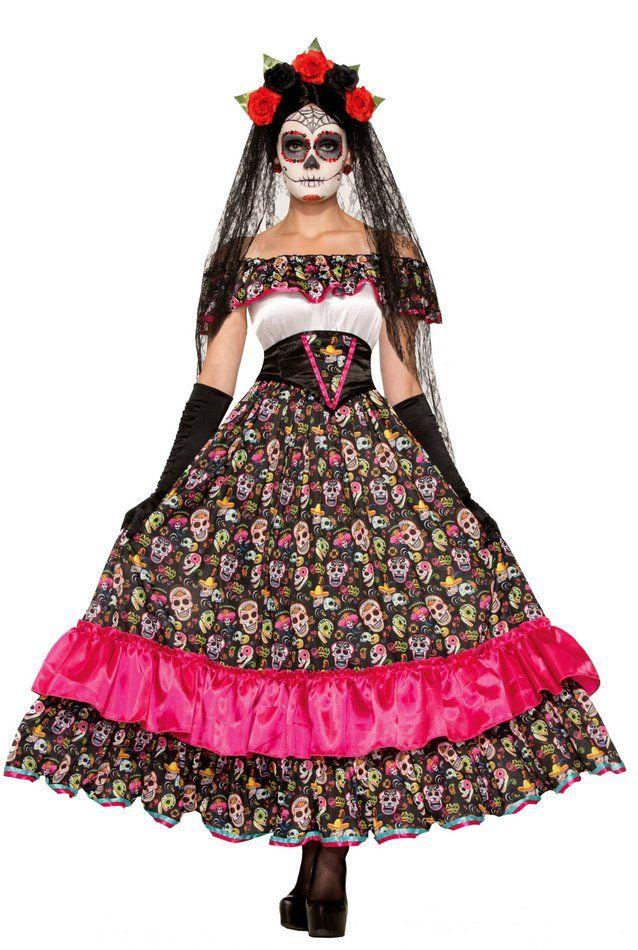 Women's Day of The Dead Spanish Lady Costume Vestido de