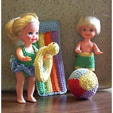 "For 4 1/2"" fashion dolls, this set to crochet using size 10 thread includes instructions for both bathing suits, beach ball, 'rubber' ducky ring and 'floating' raft lounger. Does also require: small styrofoam ball (or use stuffing) for beach ball and pieces of drinking straw for raft."