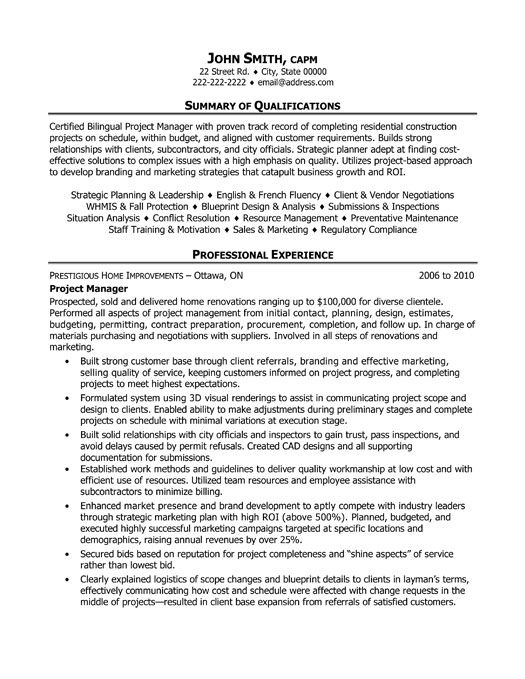 Click Here To Download This Project Manager Resume Template Http Www Resumetemplates101 Com Constru Project Manager Resume Manager Resume Project Management