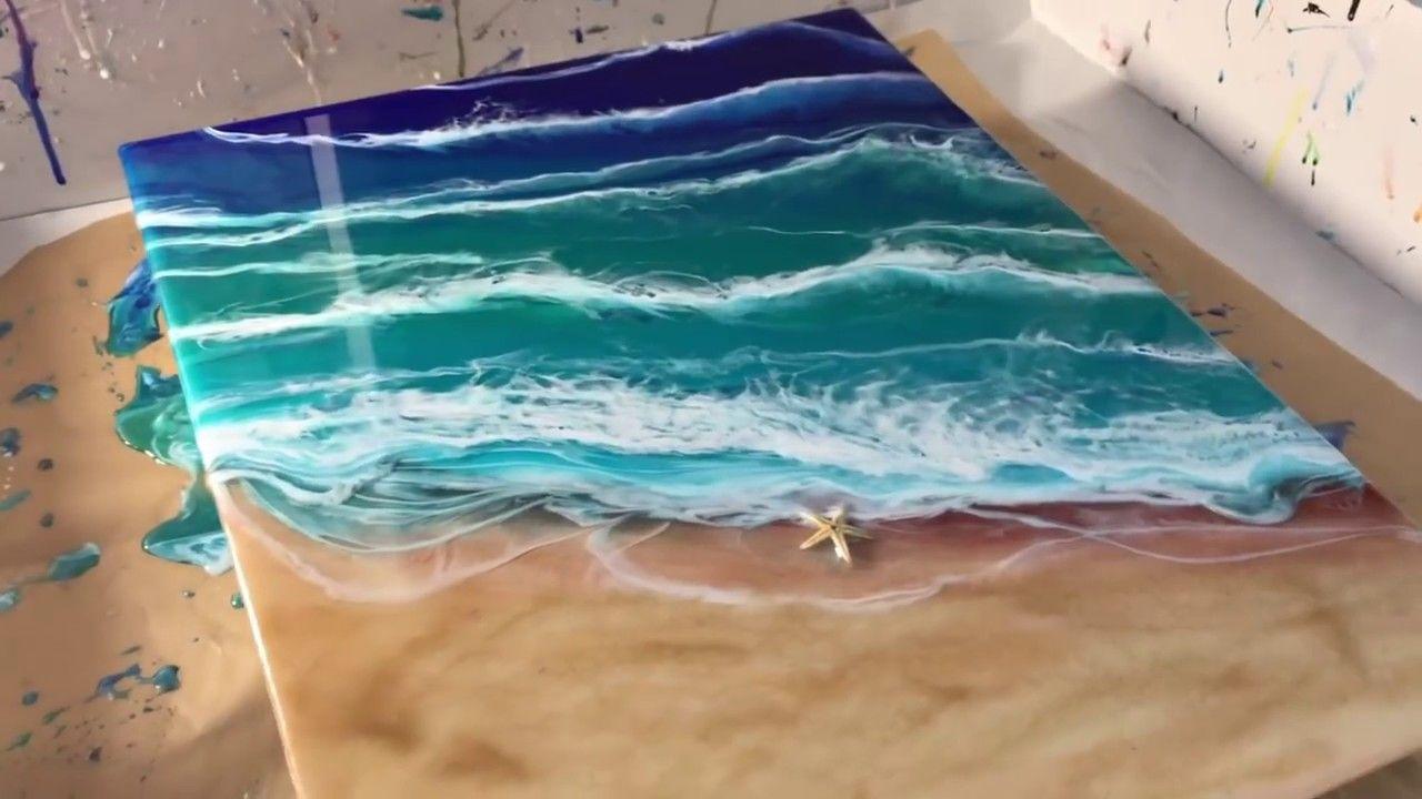 47 epoxy resin art beginner ocean beach final
