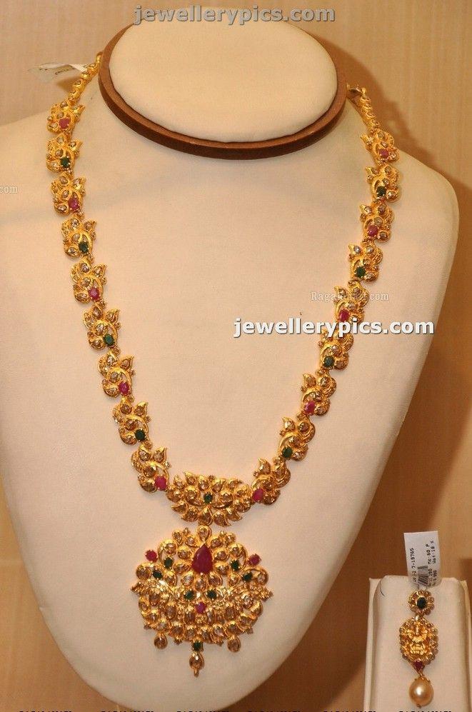 Manepalli Gold Haram design with stones - Latest Jewellery Designs ...