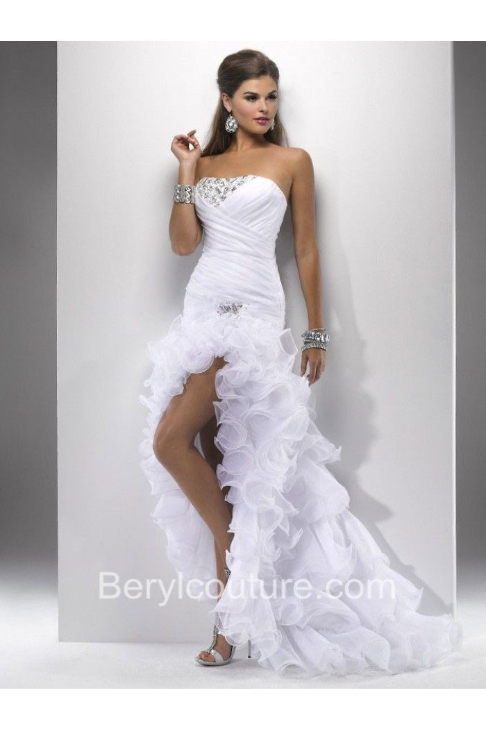 Princess High Low Strapless White Organza Ruffle Prom Dress With ...