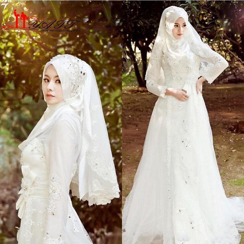 Muslim Terbaru Wedding Dresses Hijab Veil Beads Crystals Tulle ...