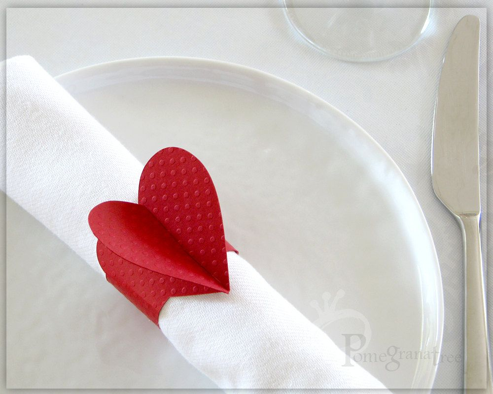 Red Heart Napkin Rings Party Decorations Paper Napkin Rings