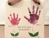 Hand & Footprint Art! Baby footprint mug & kit. USA! by MyForeverPrints #mistletoesfootprintcraft Flower Handprint Plaque, Mother's Day gift, Grandmother Gift, Handprint art, footprint art #mistletoesfootprintcraft