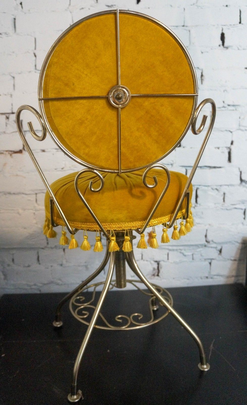 Stupendous Vanity Stool Hollywood Regency Metal Gold Velvet W Alphanode Cool Chair Designs And Ideas Alphanodeonline