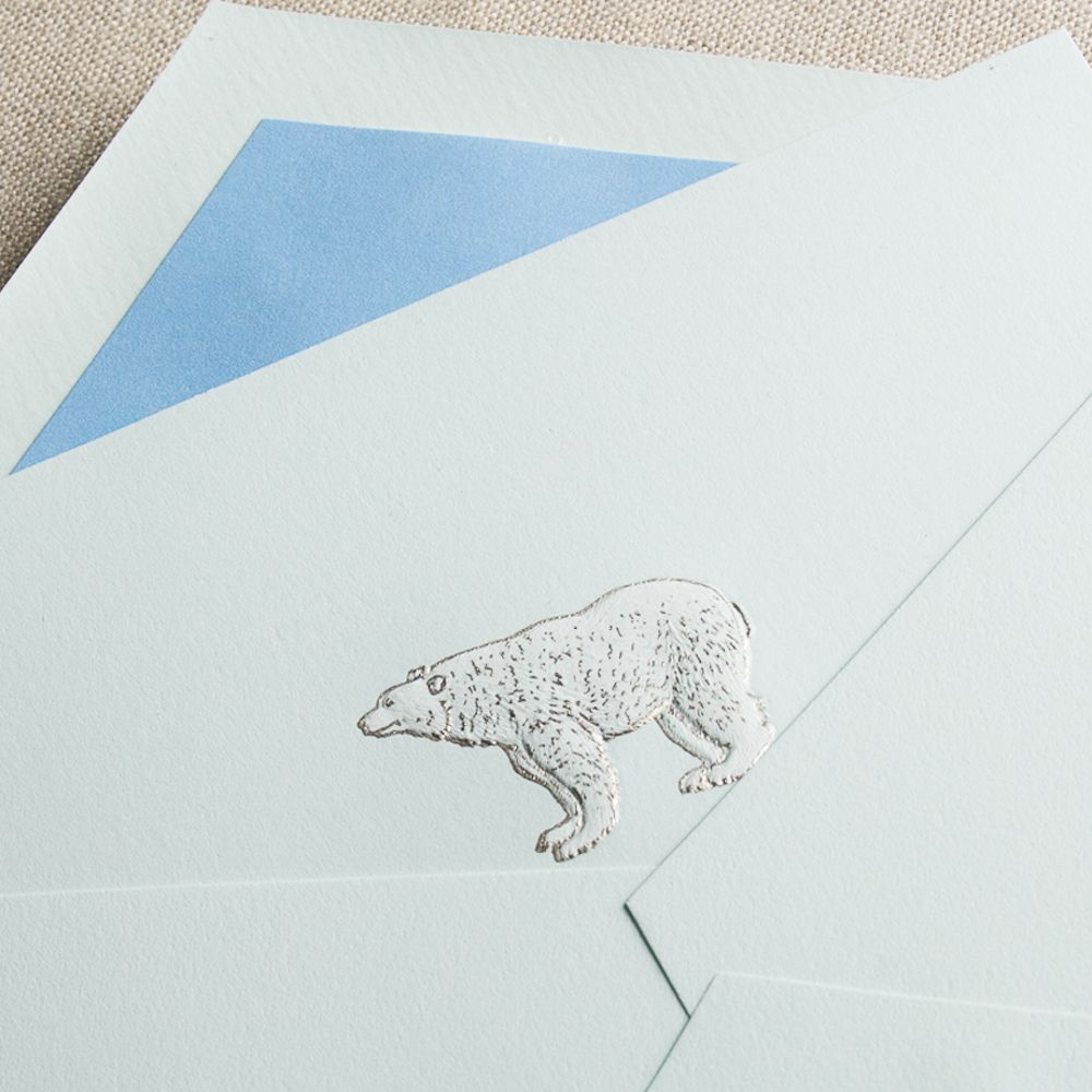 Engraved Polar Bear Note: She may adore cold weather, but our engraved polar bear is sure to the warm the heart of the recipient of this note, paired perfectly with our Newport blue envelope lining.