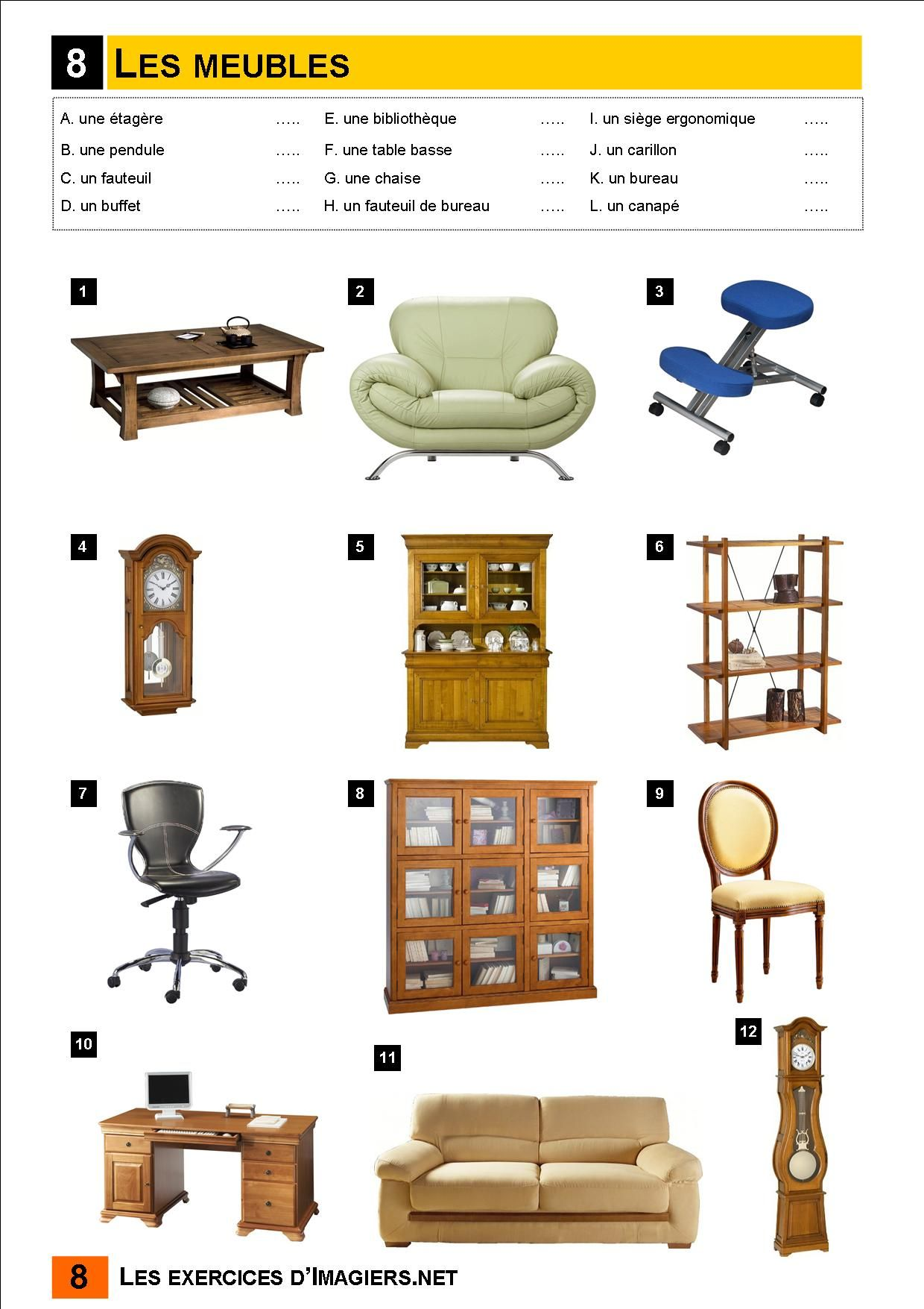les meubles vocabulaire pinterest. Black Bedroom Furniture Sets. Home Design Ideas