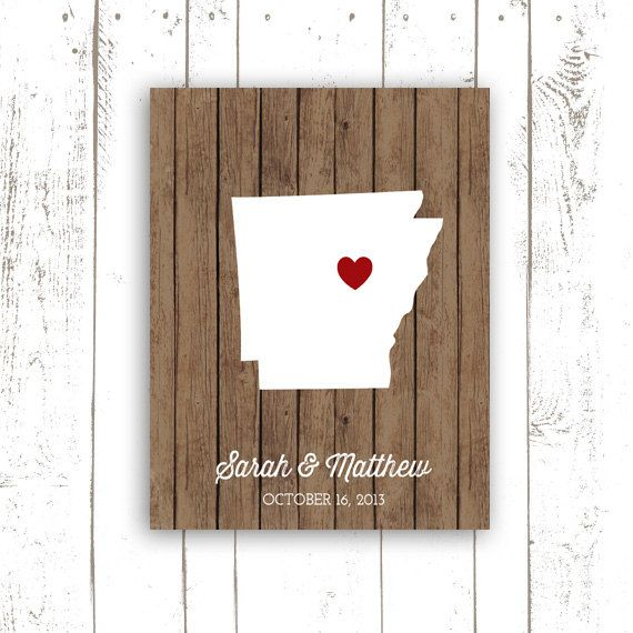 Arkansas State Print  Rustic Wood Art Print by MooseberryPrintShop, $20.00