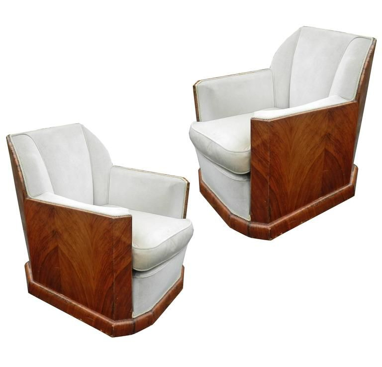 Paire de fauteuils epoque art deco en placage de noyer et for Proantic art deco